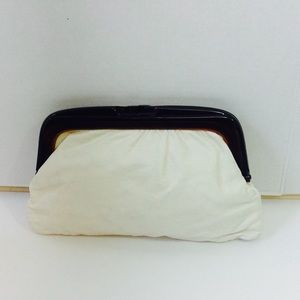 Lord & Taylor White Leather Lucite Handle Clutch